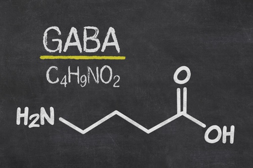 Blackboard with the chemical formula of GABA