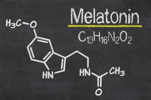Blackboard with the chemical formula of melatonin